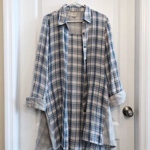 Blue Grey Flowing Collared Tunic